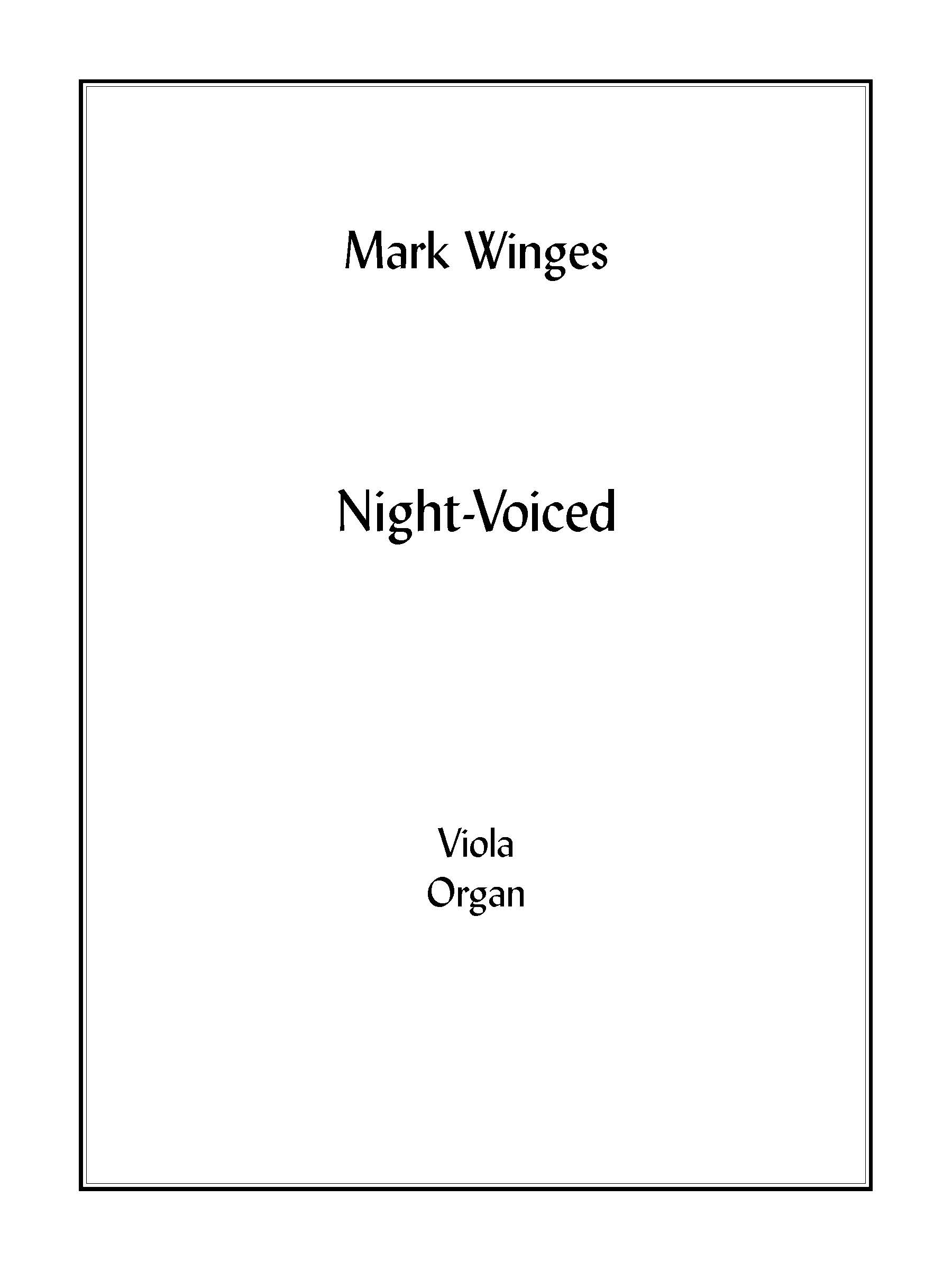 Night-Voiced (organ version) for Viola & Organ