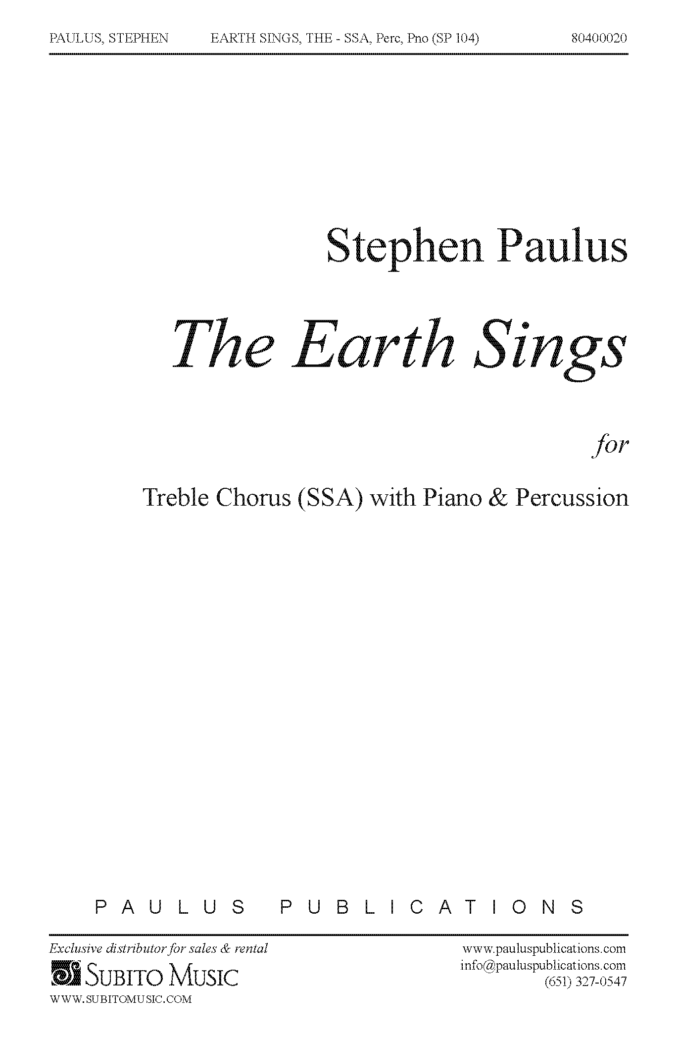 The Earth Sings - Percussion Part for SSAA Chorus, Piano & Hand Percussion