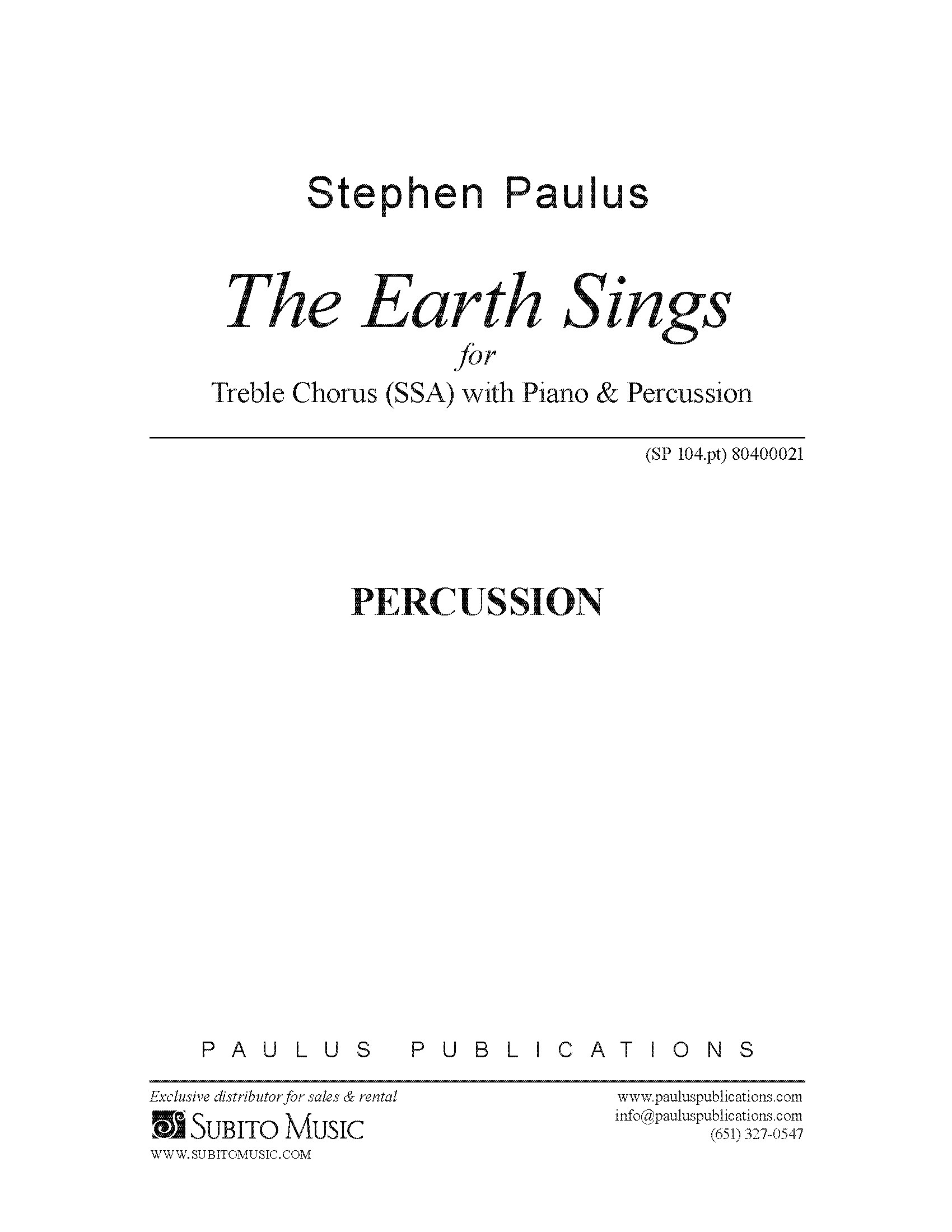 The Earth Sings for SSAA Chorus, Piano & Hand Percussion