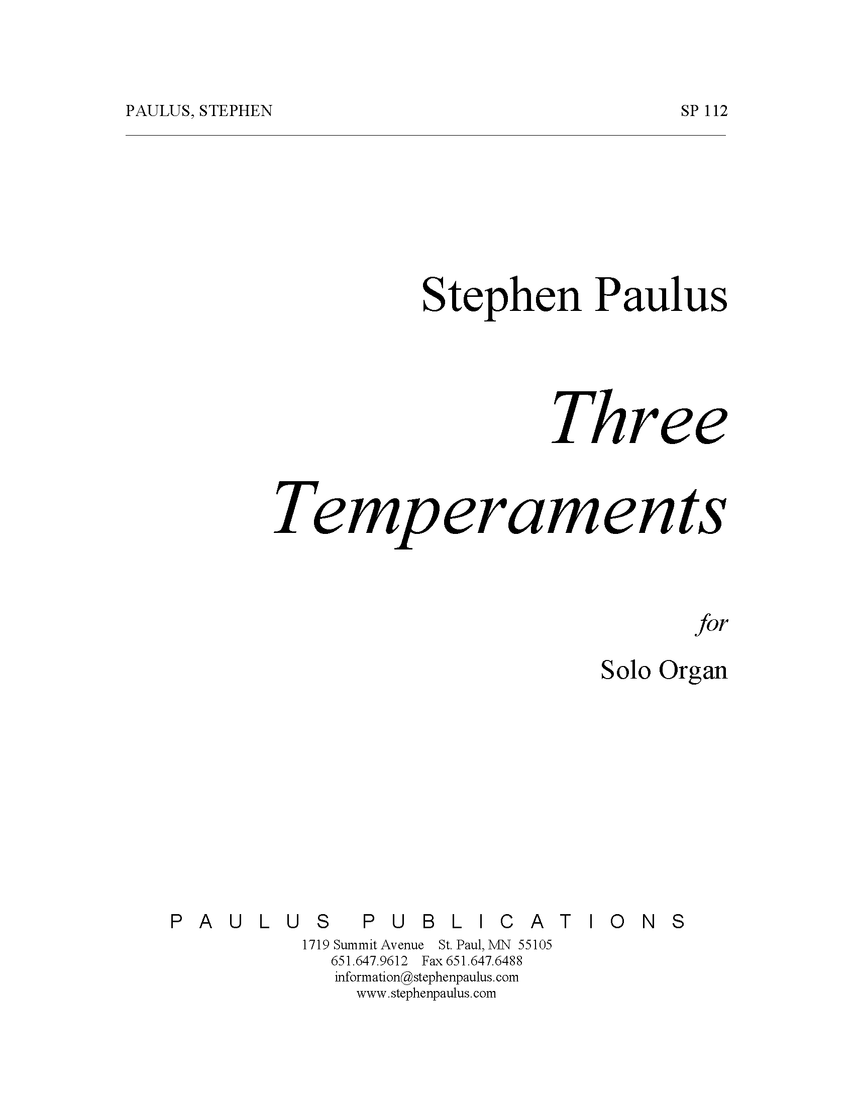 Three Temperaments for Organ