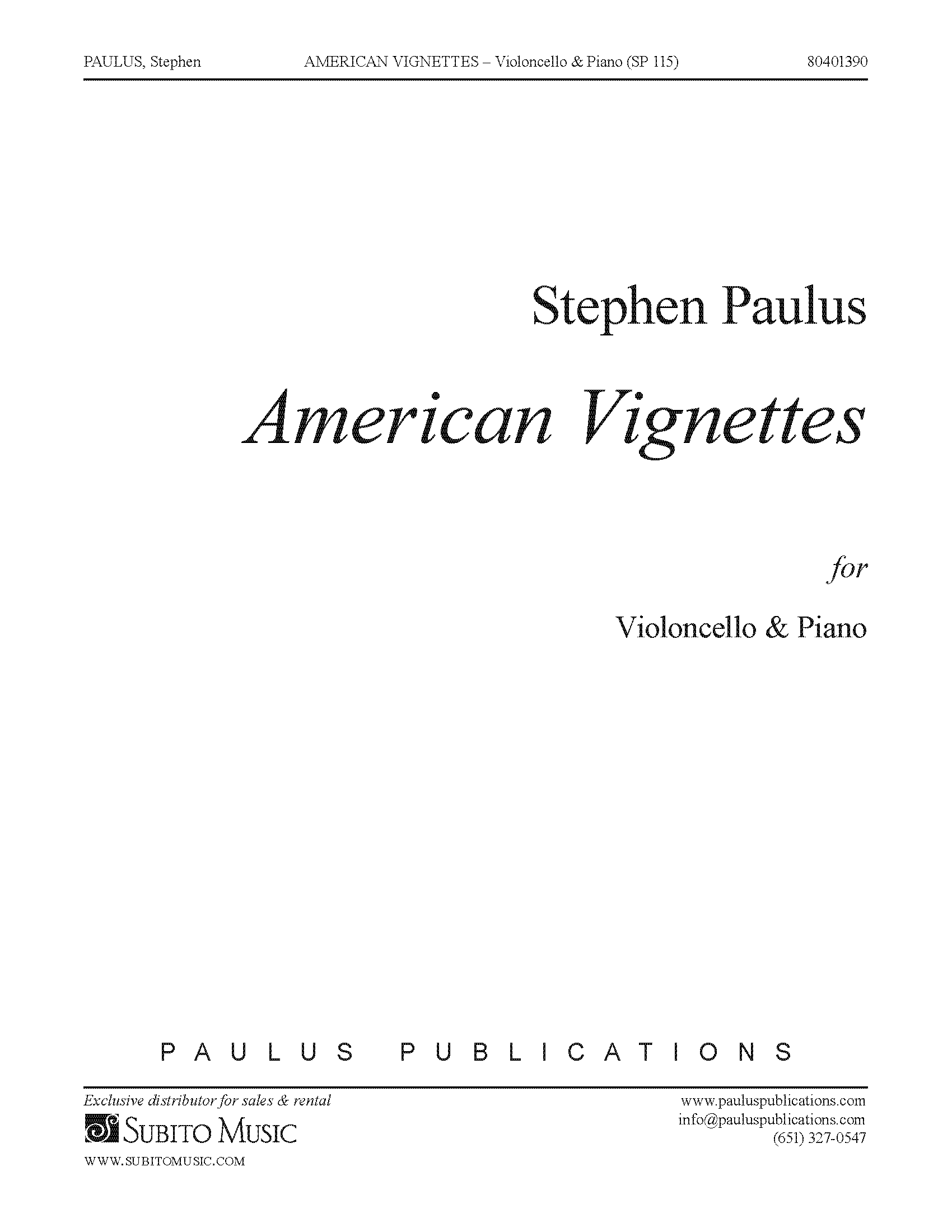 American Vignettes for Violoncello & Piano