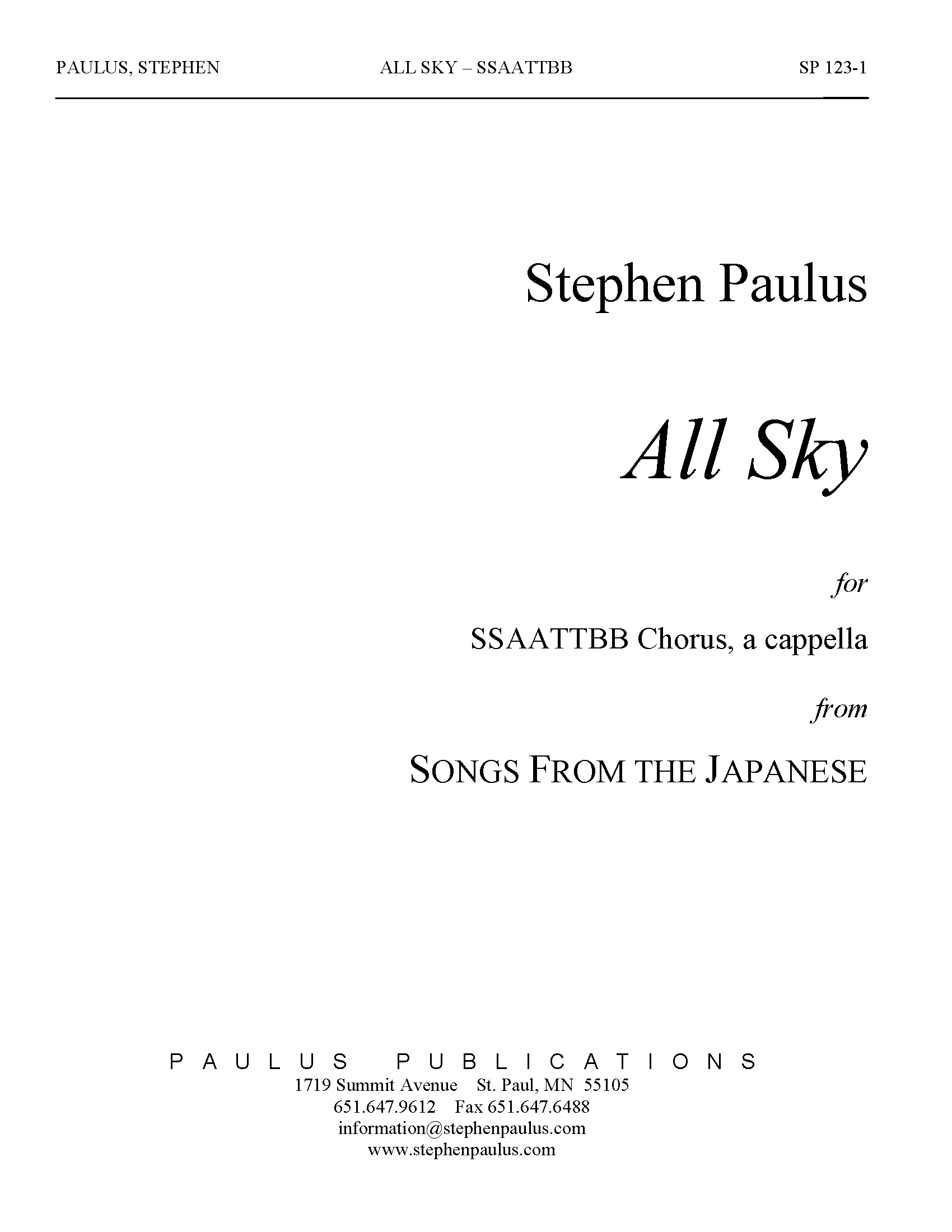 All Sky (from Songs from the Japanese) for SATB Chorus, a cappella