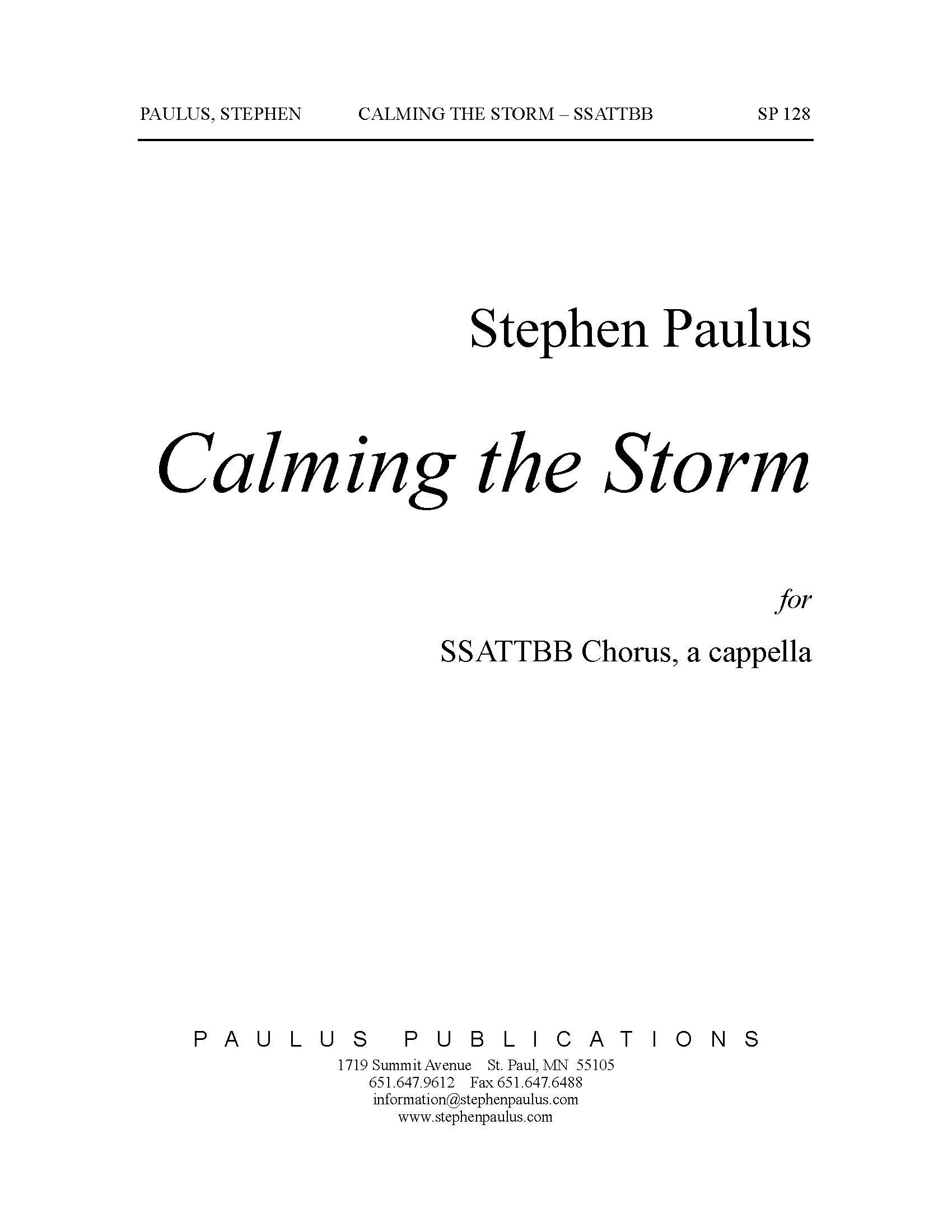 Calming the Storm for SSAATTBB Chorus (opt. Piano) - Click Image to Close