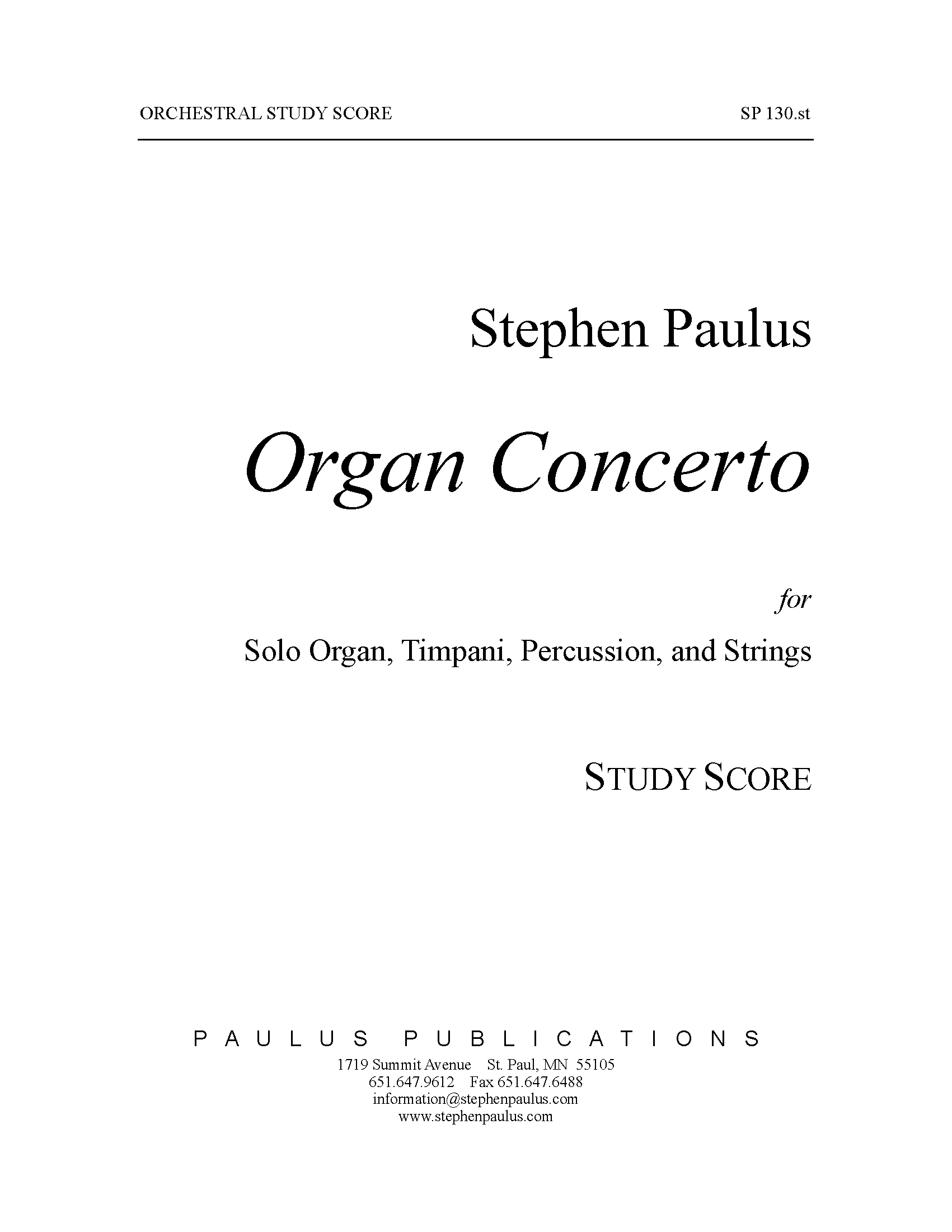 Organ Concerto for Organ, Timpani, Percussion & Strings