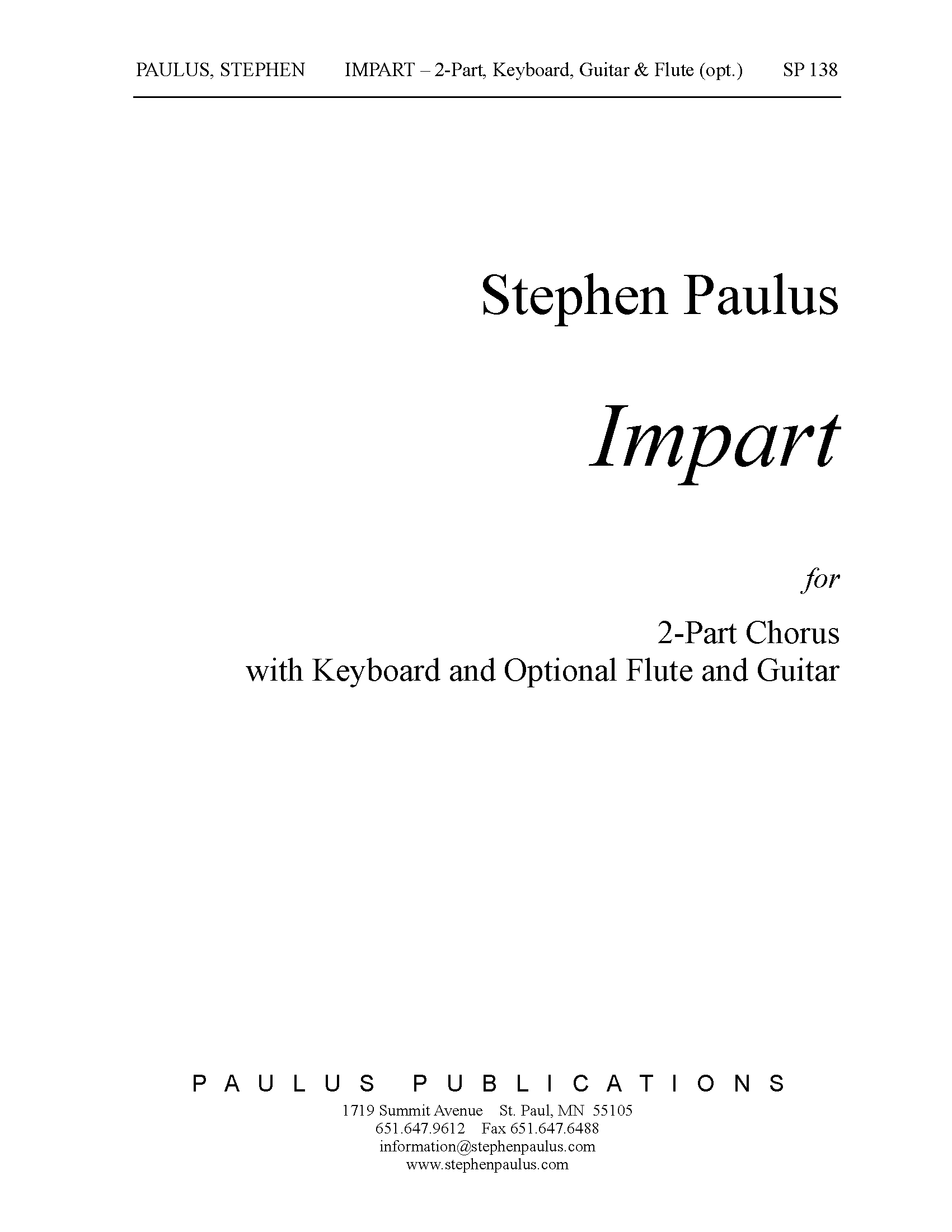 Impart for 2-Part Chorus & Keyboard (w/ opt. Flute)