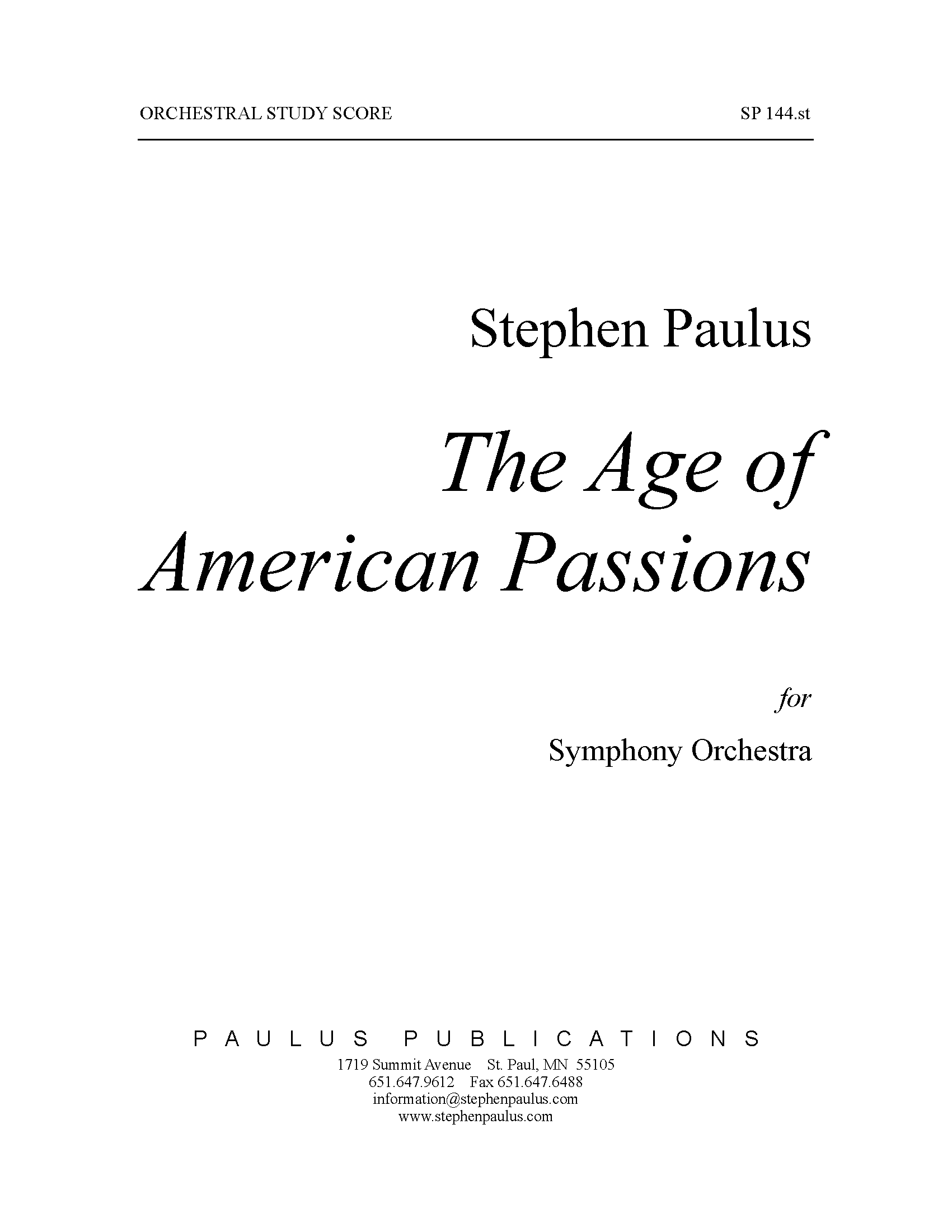 Age of American Passions, The for Orchestra