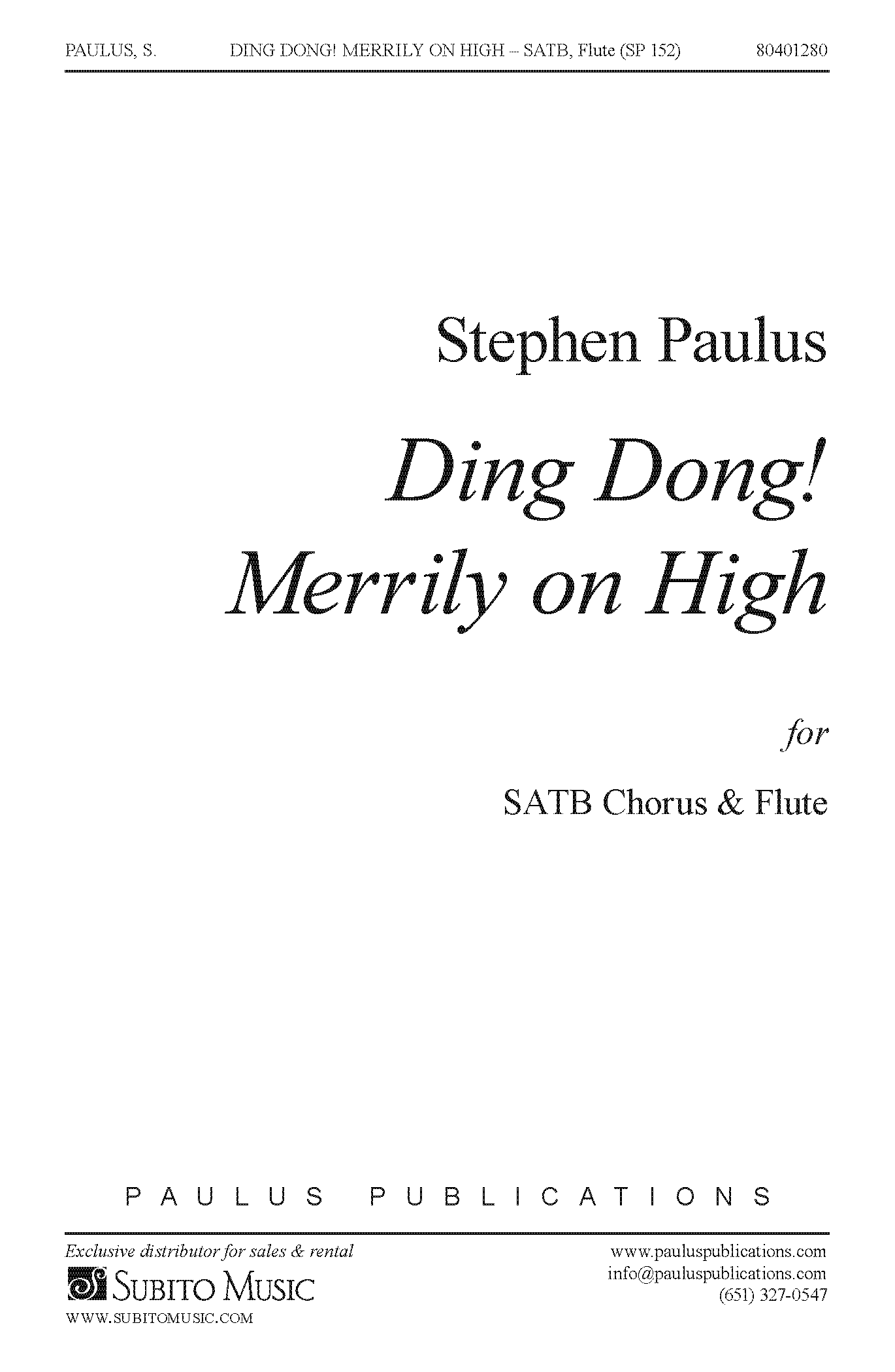 Ding, Dong! Merrily on High for SATB Chorus & Flute