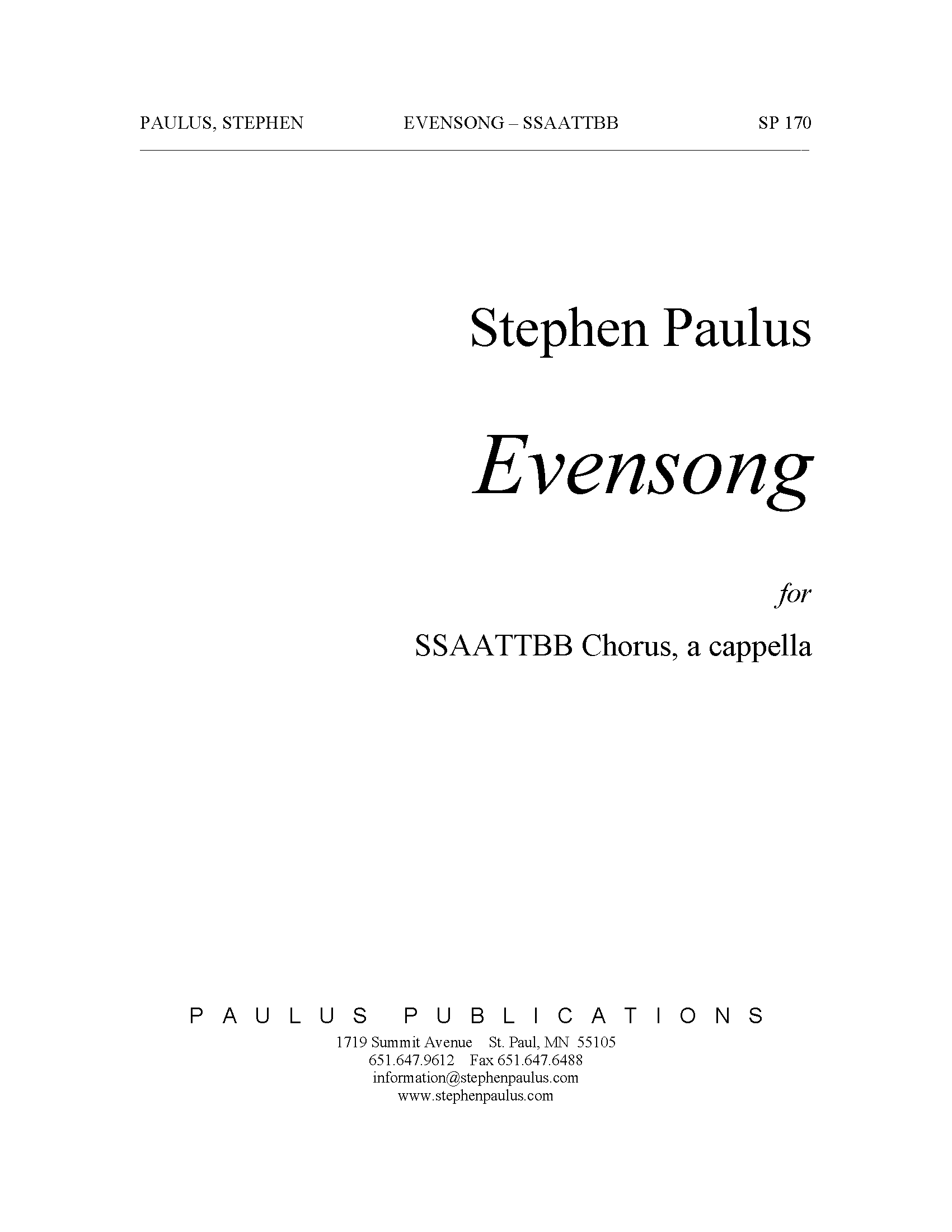 Evensong for SSAATTBB Chorus, a cappella