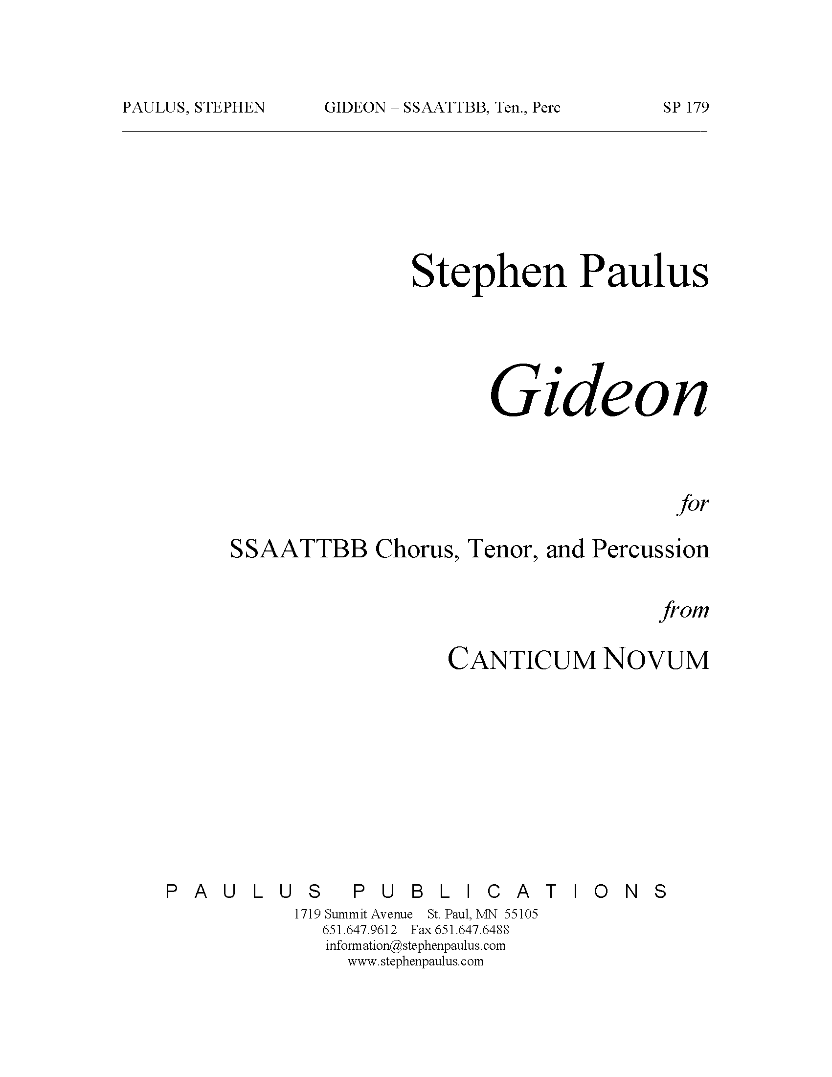 Gideon (from Canticum Novum) for SSAATTBB Chorus, Tenor & Percussion