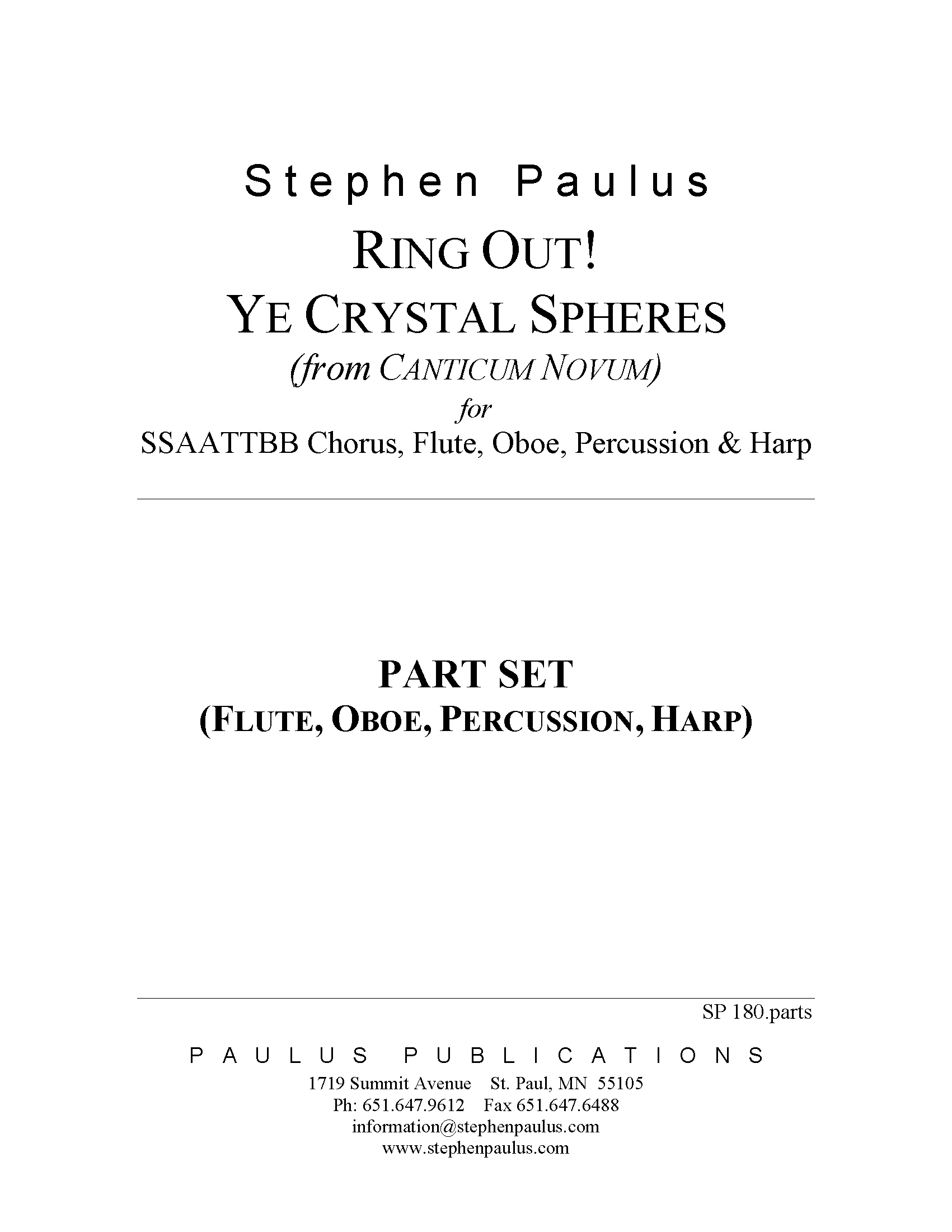 Ring Out! Ye Crystal Spheres - PARTS