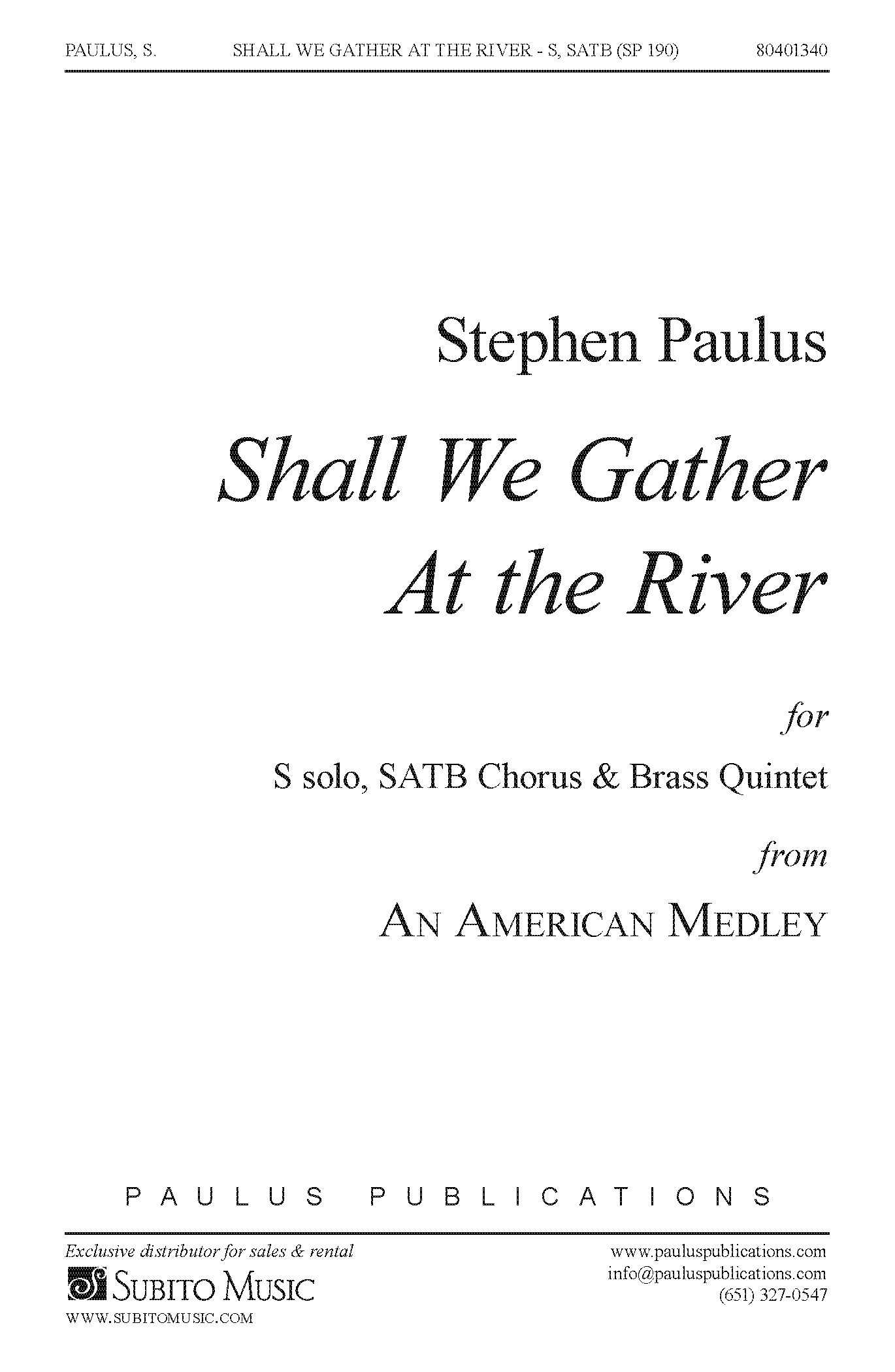 Shall We Gather at the River for SATB Chorus & Brass Quintet