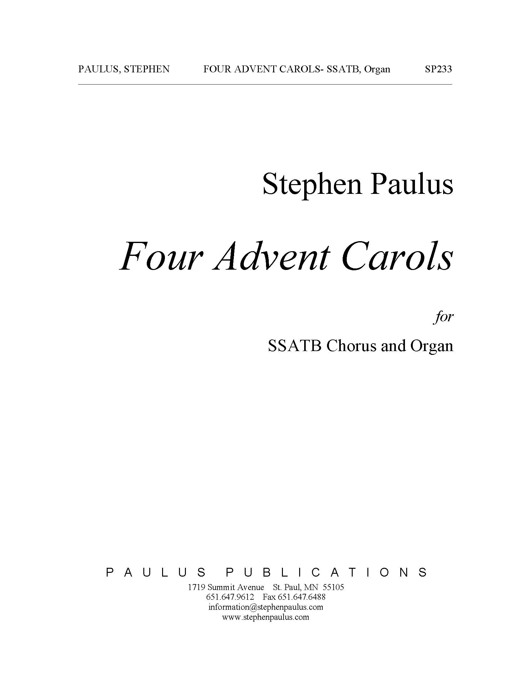 Four Advent Carols for SSATB & Organ