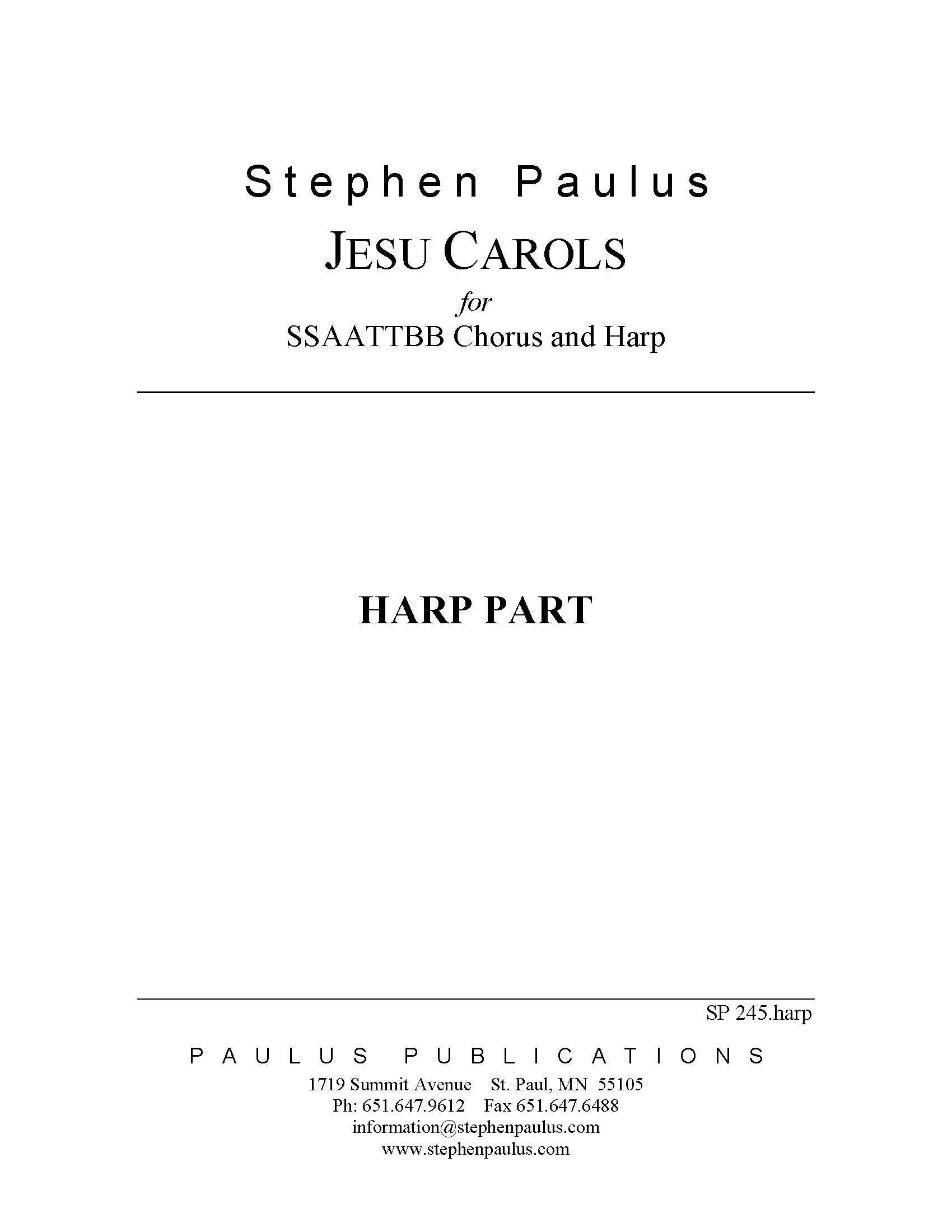 Jesu Carols - Harp Part for SSAATTBB Chorus & Harp