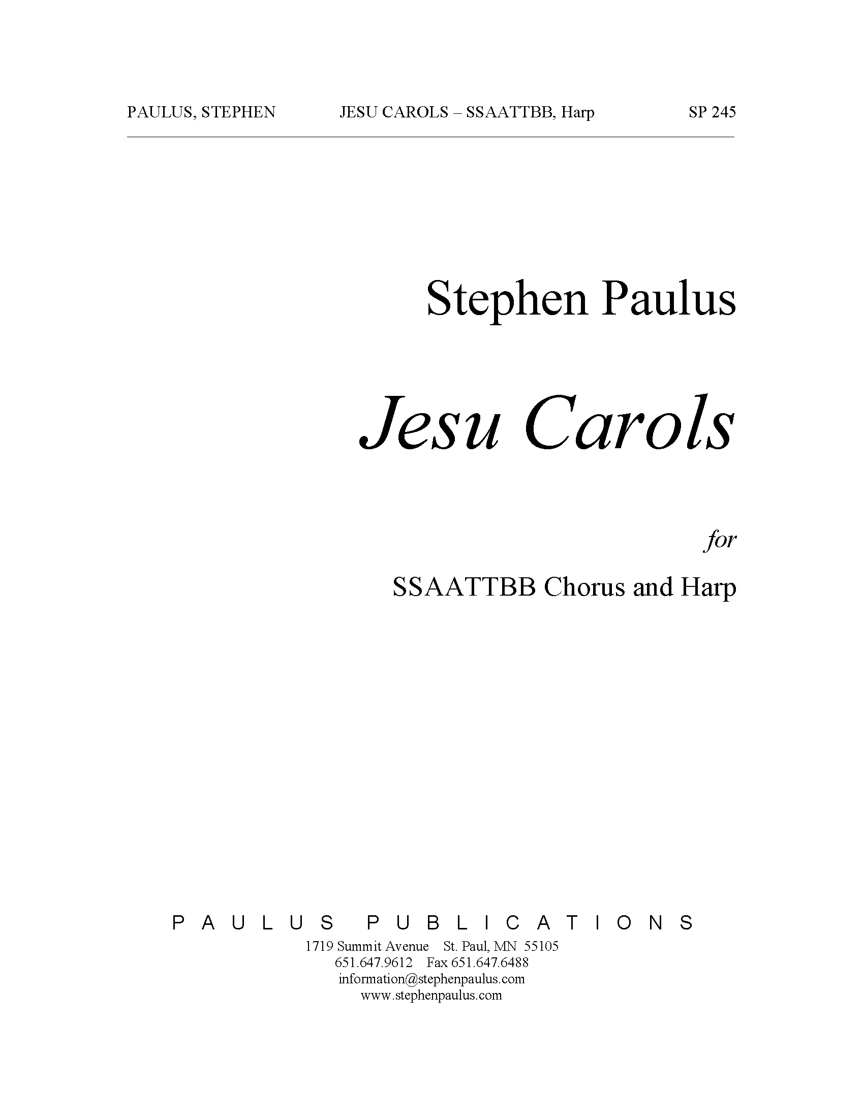 Jesu Carols for SSAATTBB Chorus & Harp