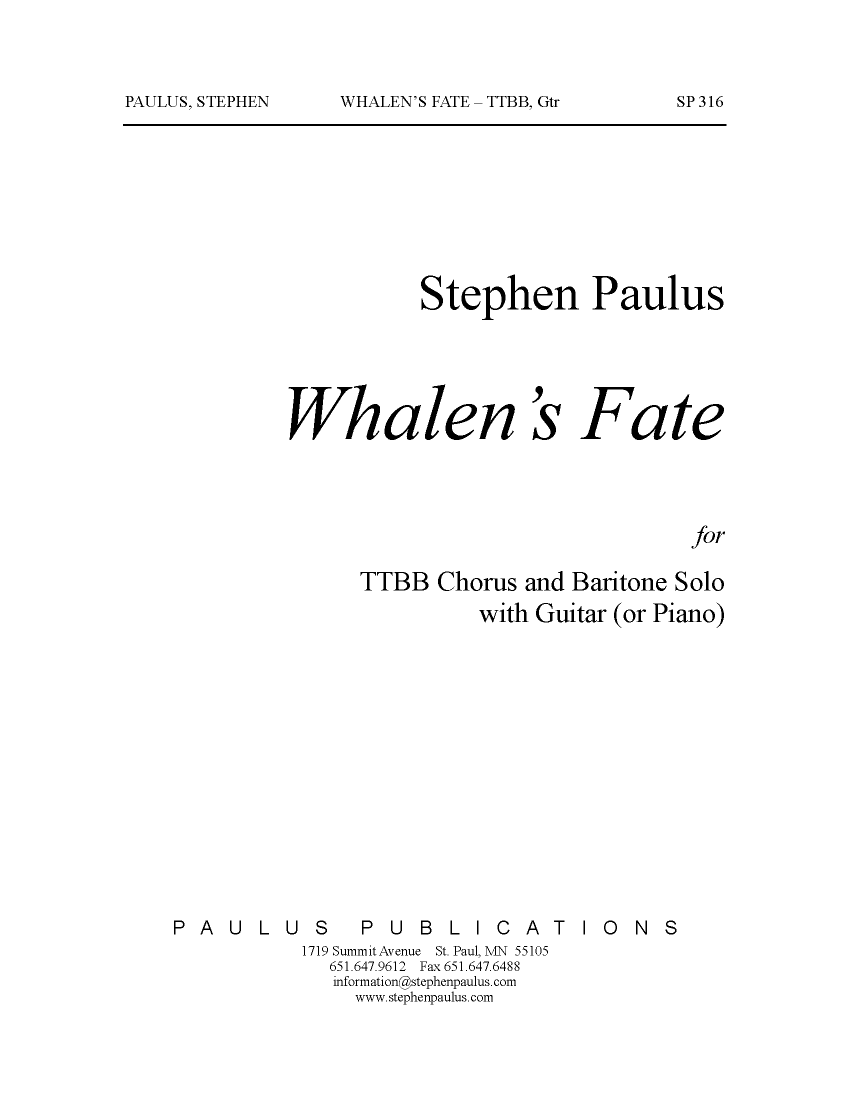 Whalen's Fate for Bar. solo, TTBB Chorus & Guitar (or Piano)