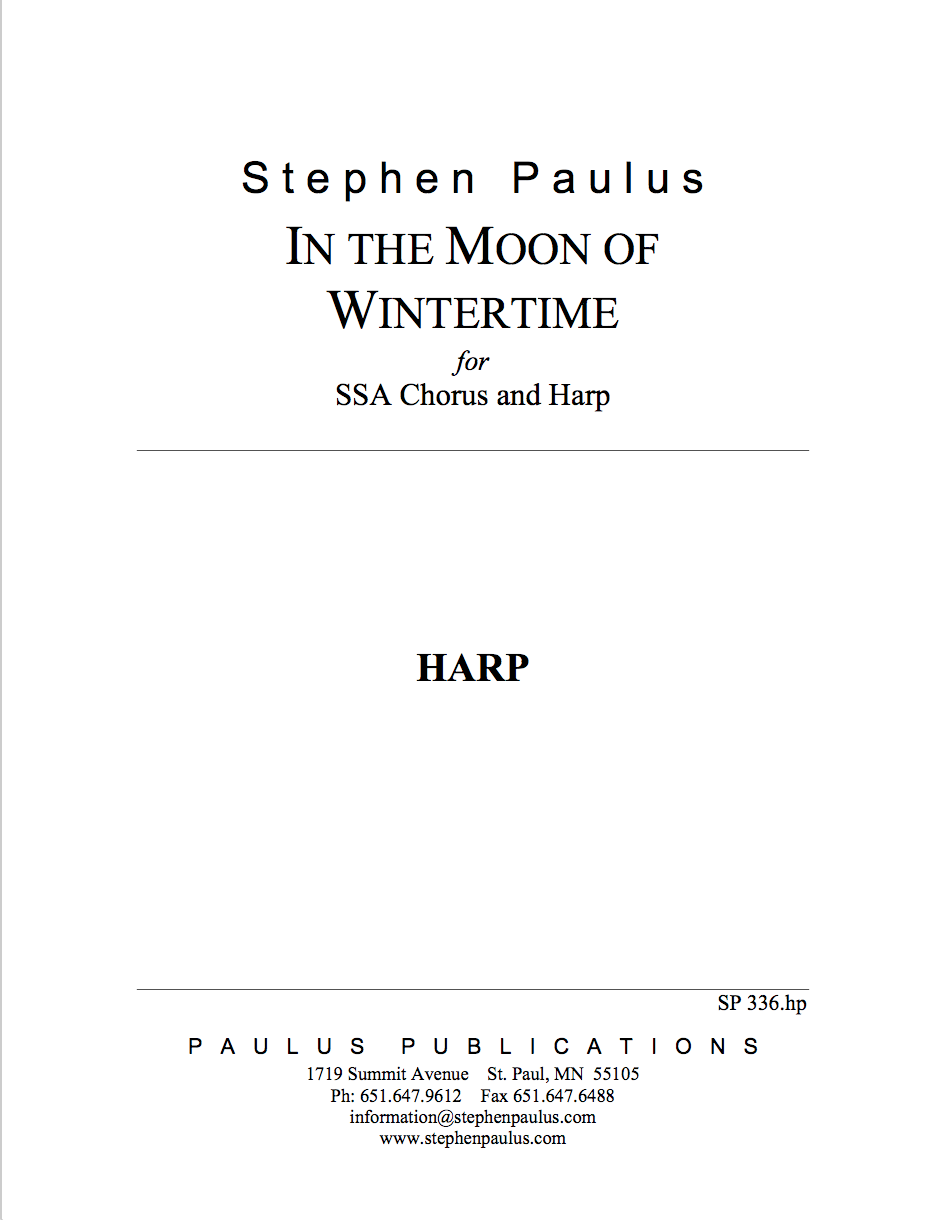 In The Moon of Wintertime - HARP part for SSA Chorus & Harp