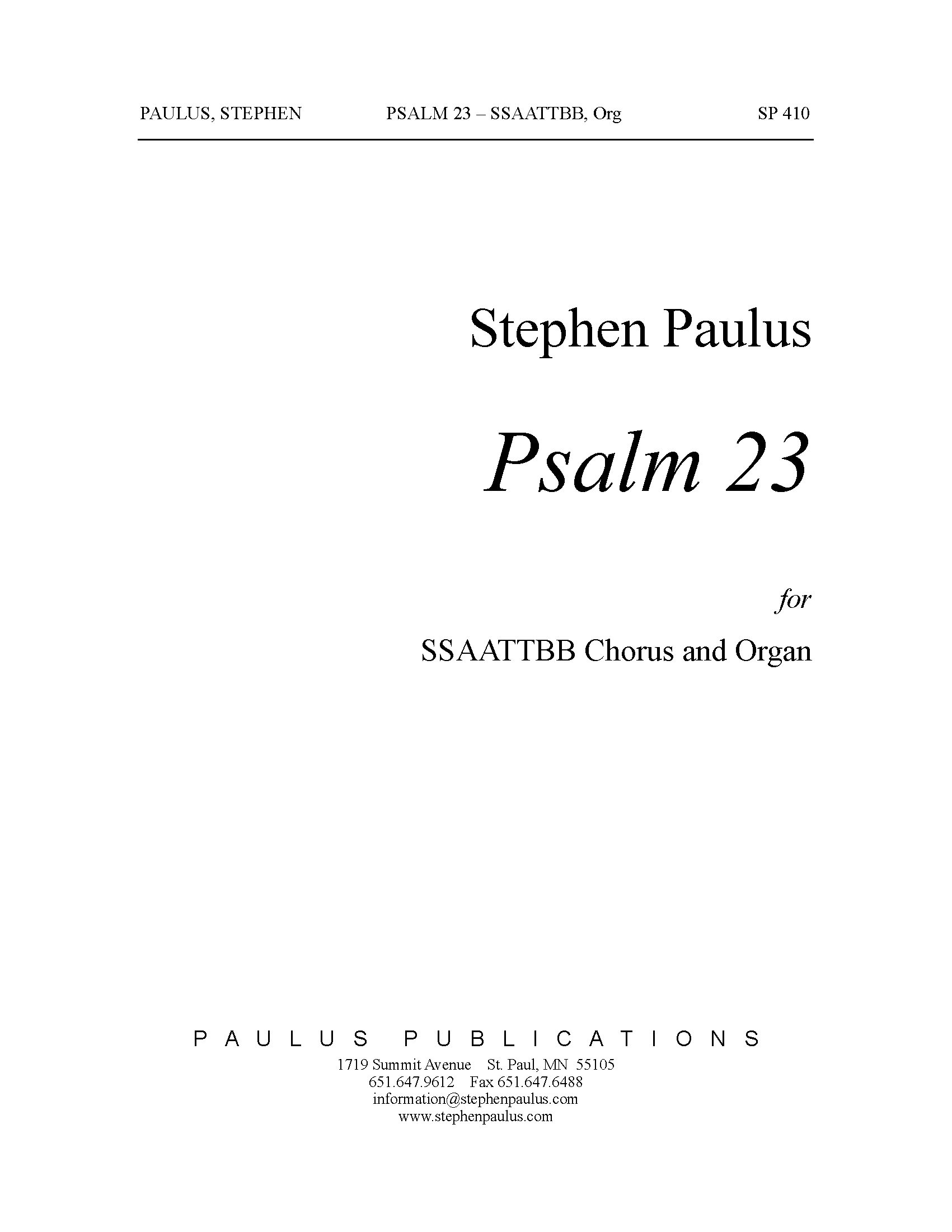 Psalm 23 for SATB Chorus & Organ