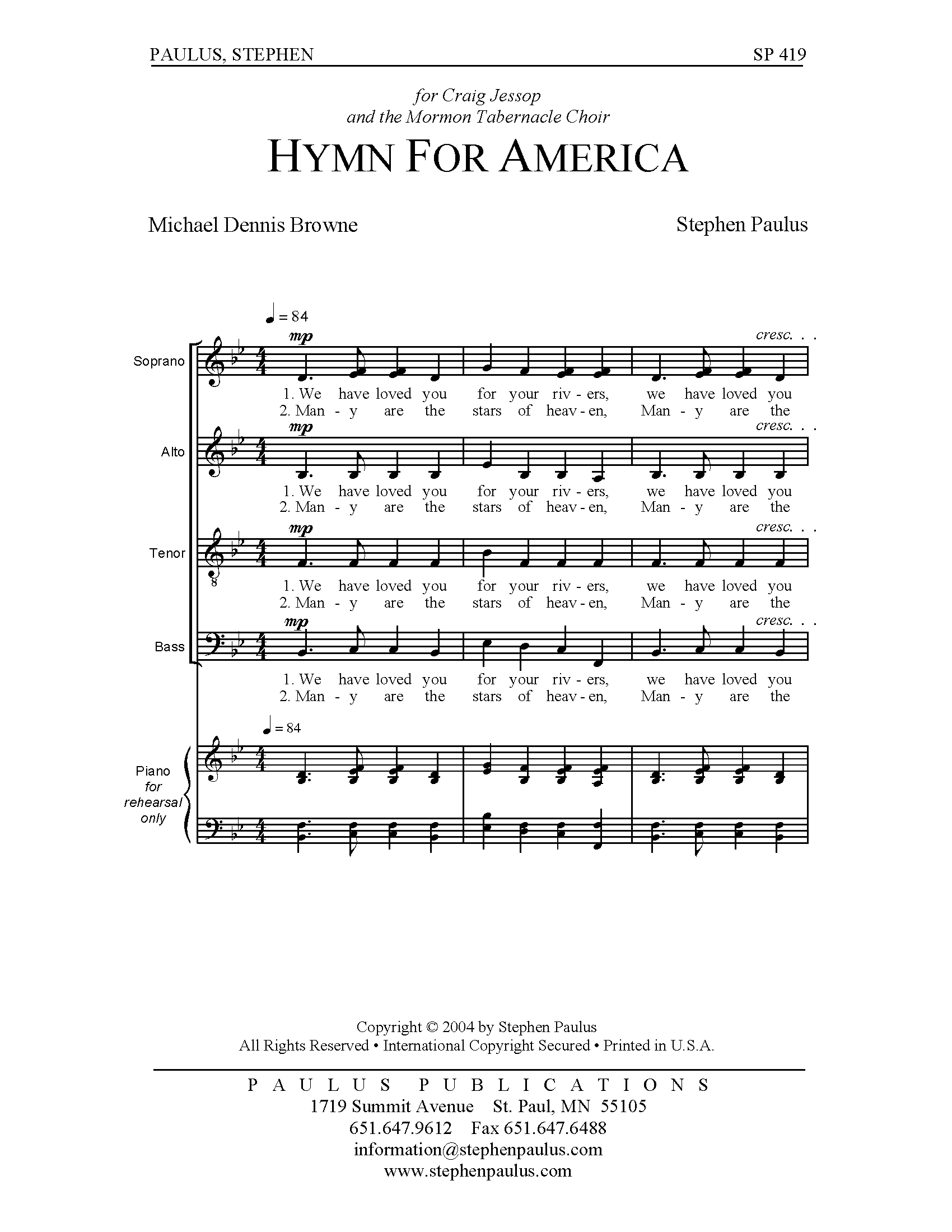 Hymn for America for SATB Chorus, a cappella