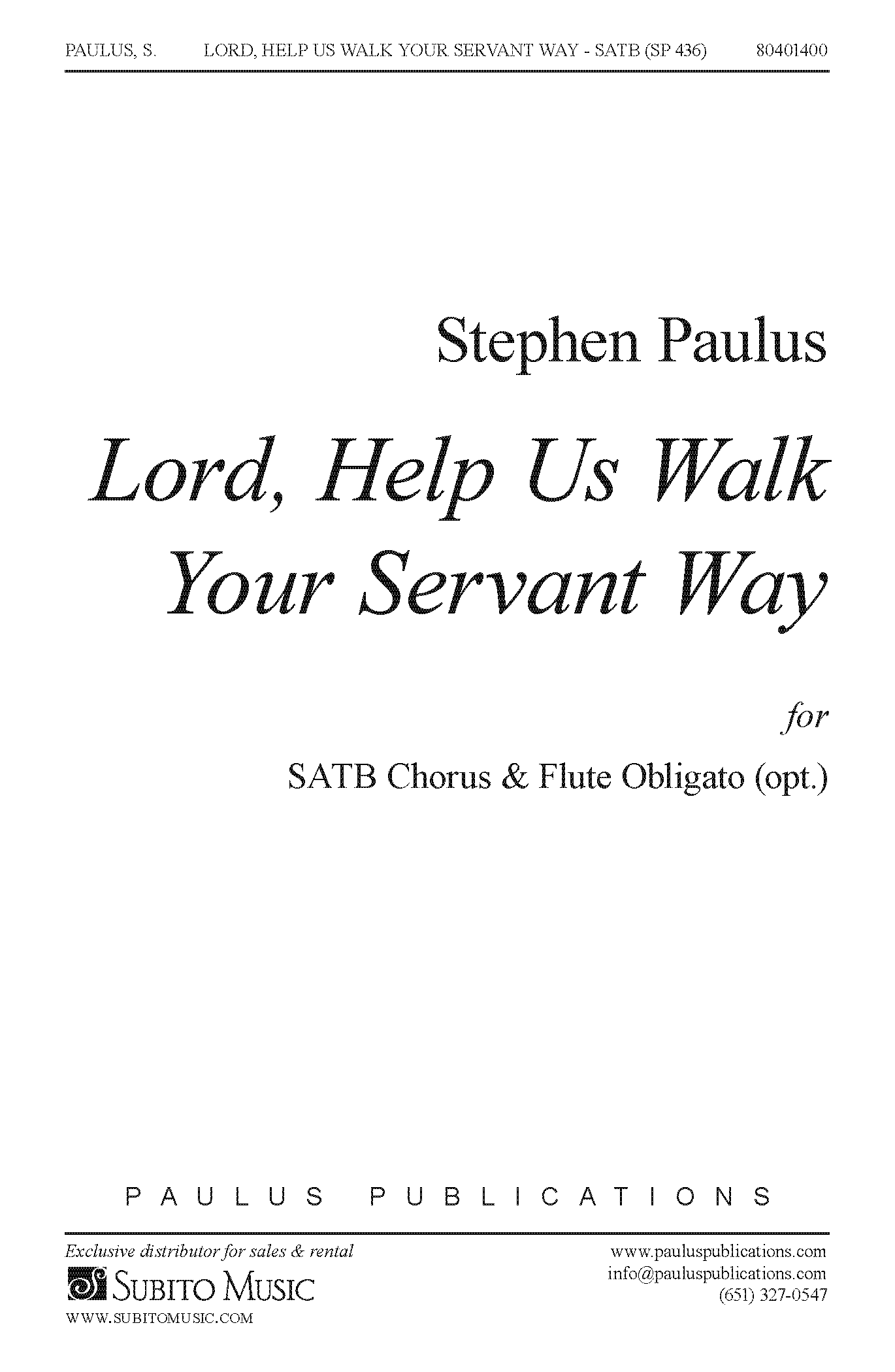 Lord, Help Us Walk Your Servant Way for SATB Chorus, opt. Flute