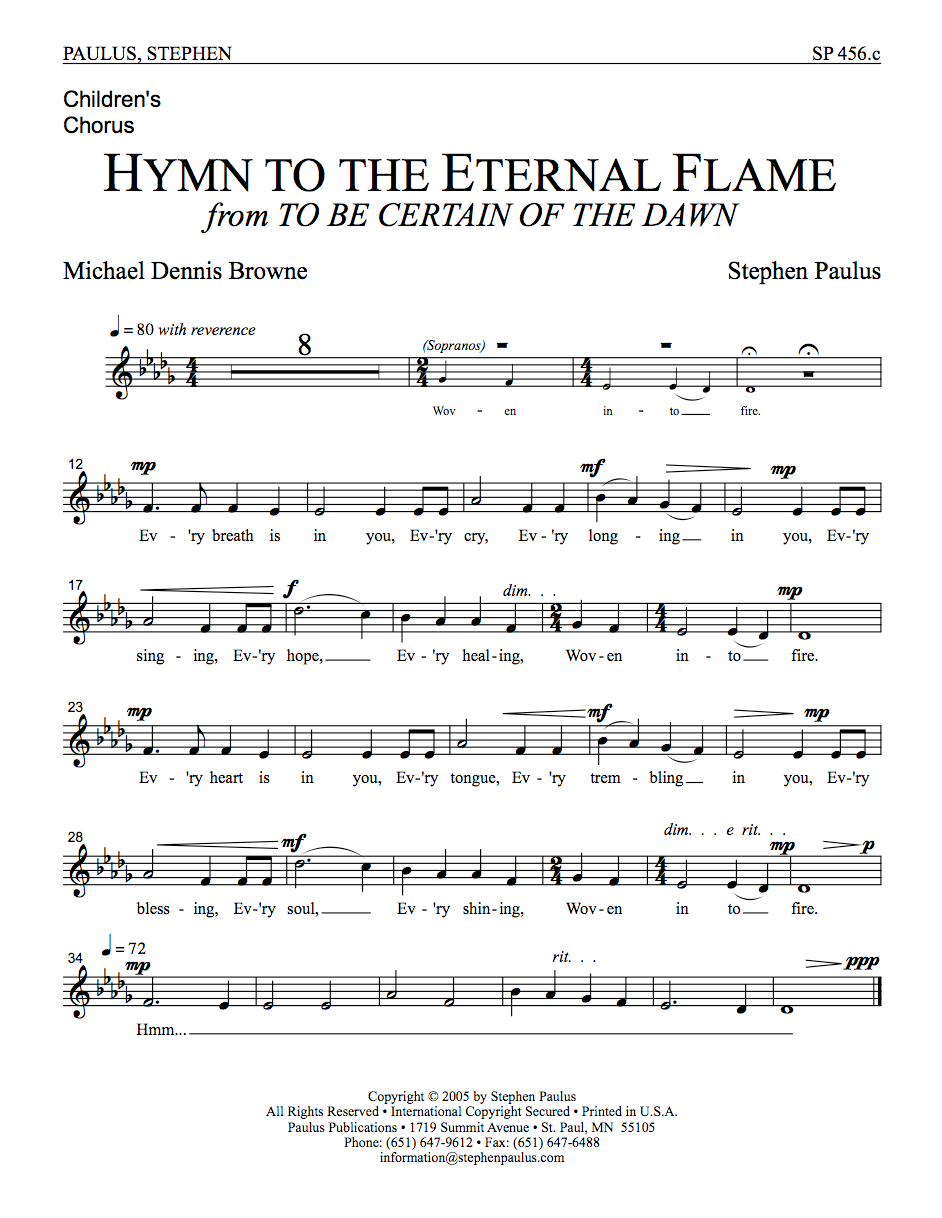 Hymn to the Eternal Flame - Children's Part for SSATBB, Unison Childrens Chorus, a cappella