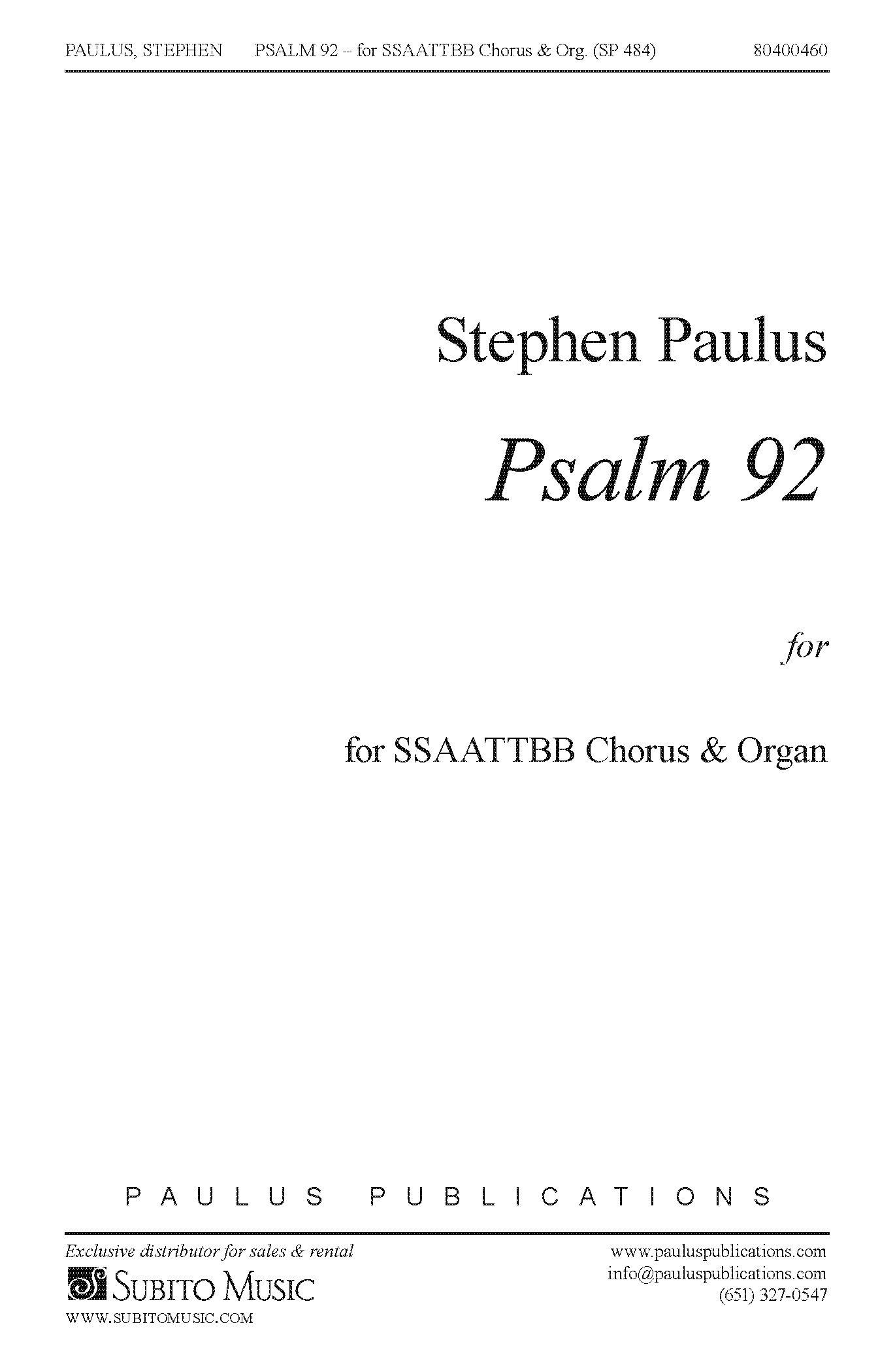 Psalm 92 for SSAATTBB Chorus & Organ