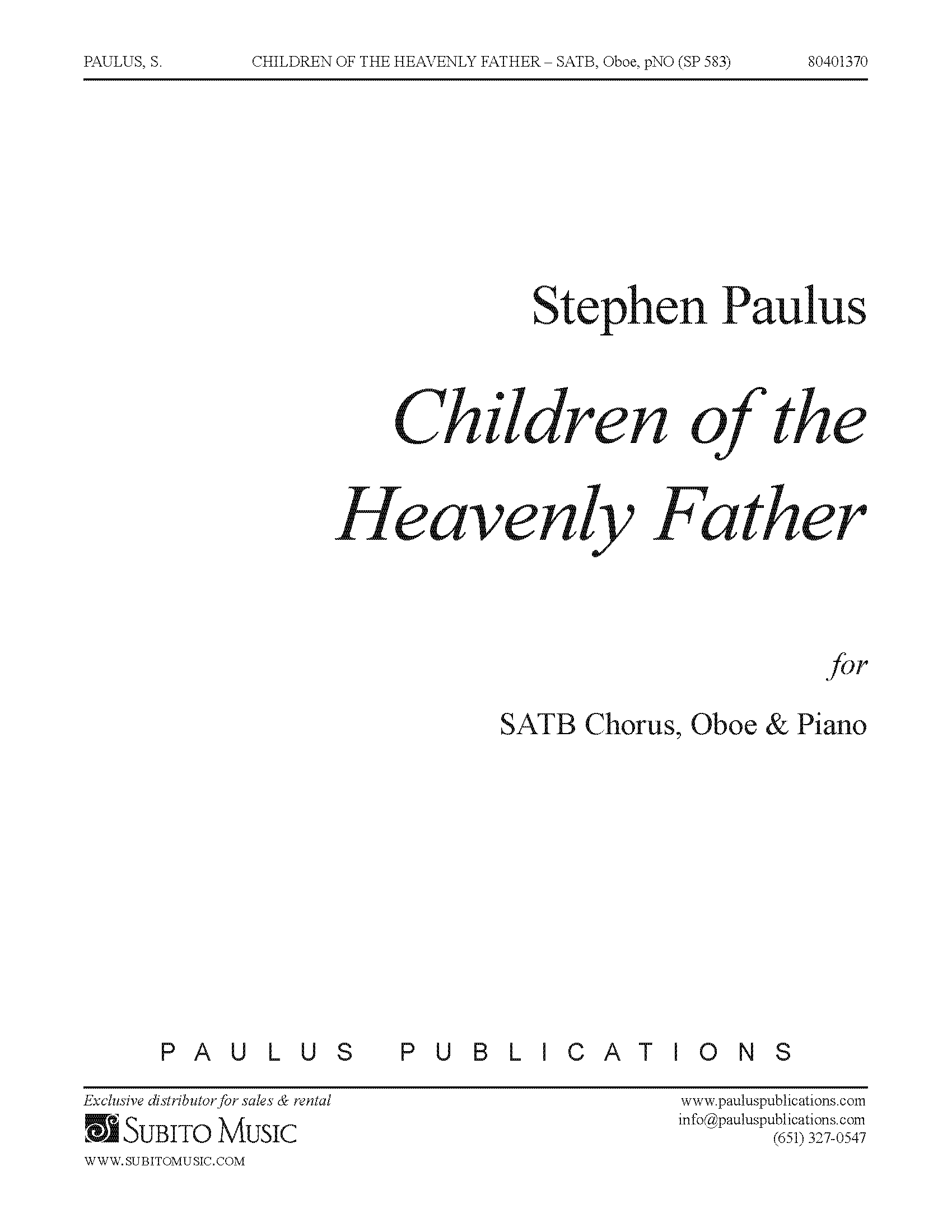 Children of the Heavenly Father for SATB Chorus, Oboe & Piano