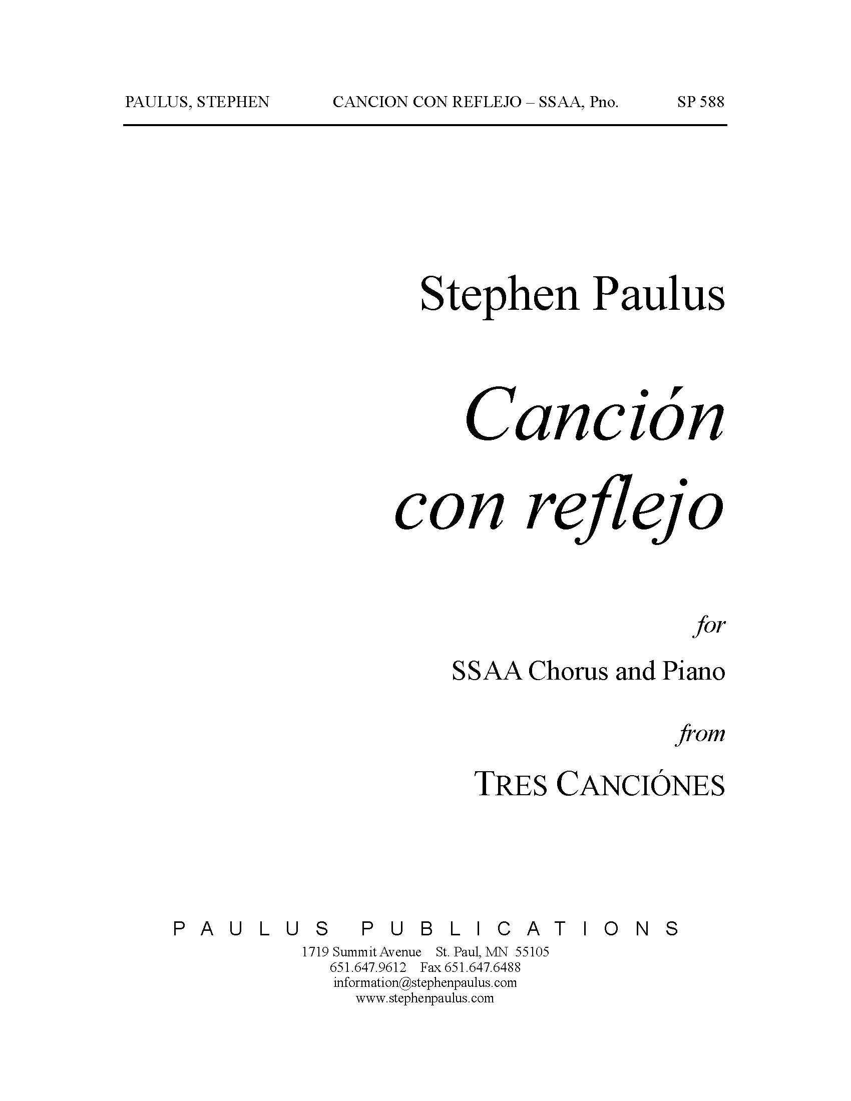 Canción con reflejo (from Tres Canciones) for SSAA Chorus & Piano