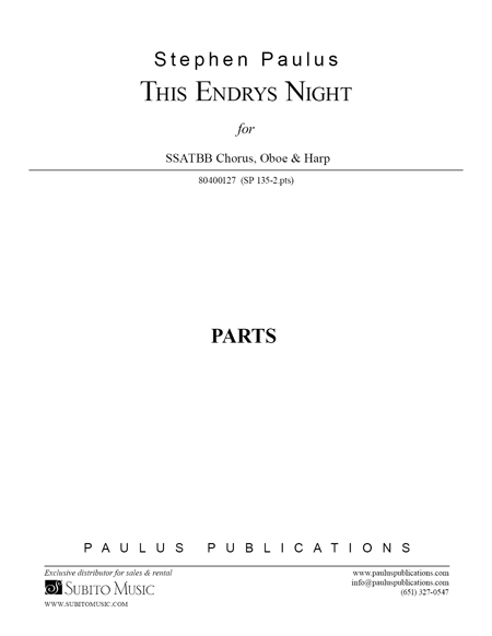 This Endris Night (Part Set) for SSATBB Chorus, Oboe & Harp