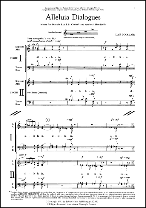 Alleluia Dialogues motet for double SATB chorus