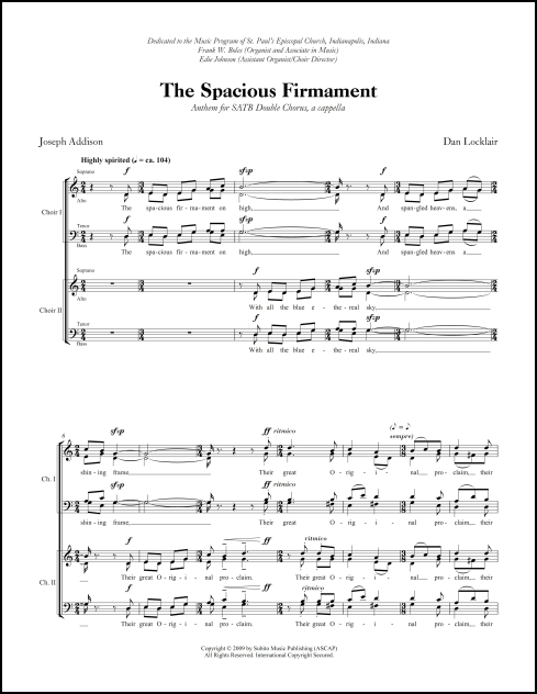 Spacious Firmament, The for SATB double chorus, a cappella