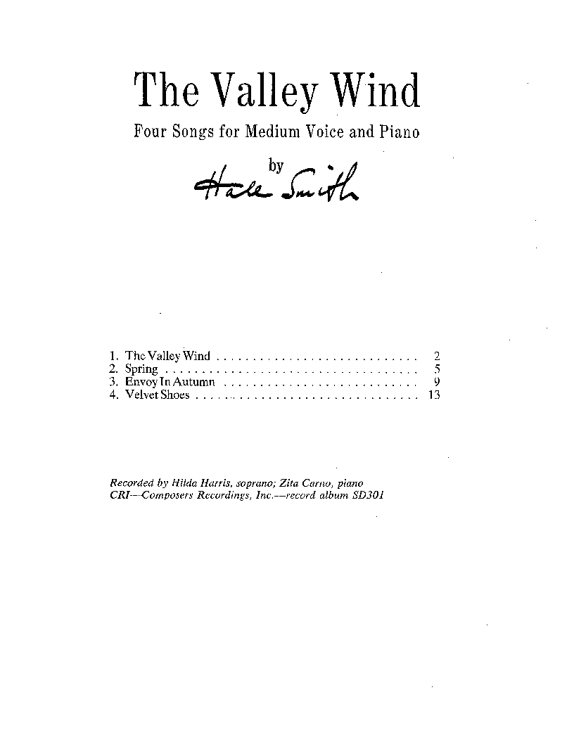 Valley Wind, The for Medium voice, Piano