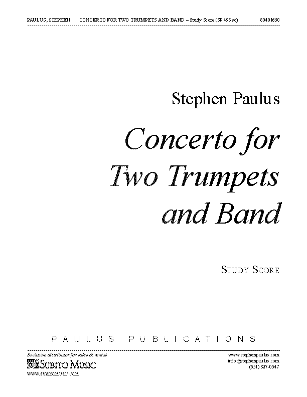 Concerto for Two Trumpets & Band (score)