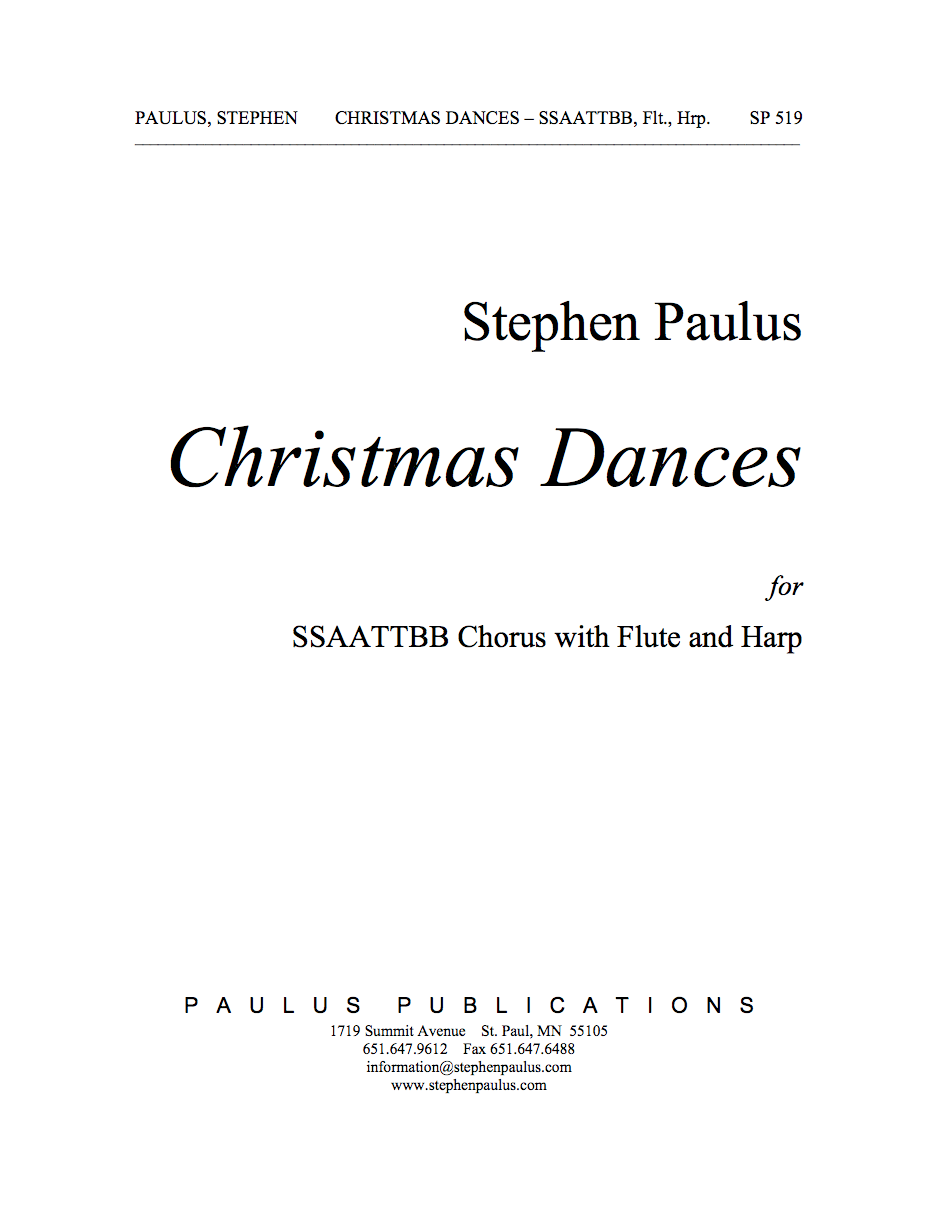 Christmas Dances for SSAATTBB Chorus, Flute & Harp