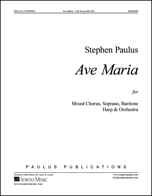 Ave Maria - Full Score for SSATBB, Sop, Bar soli, Harp & Organ,